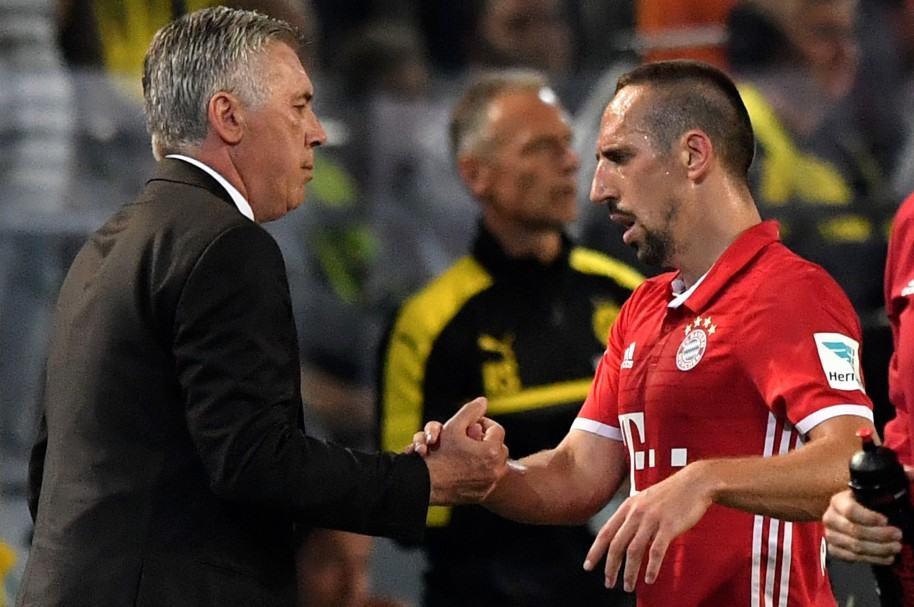 Carlo Ancelotti y Franck Rbery, del Bayern Múnich