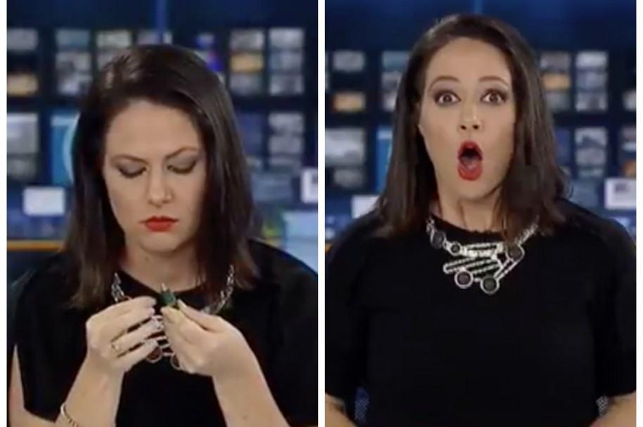 Presentadora Natasha Exelby, antes y después de percatarse de que la vieron distraída. Pulzo.com
