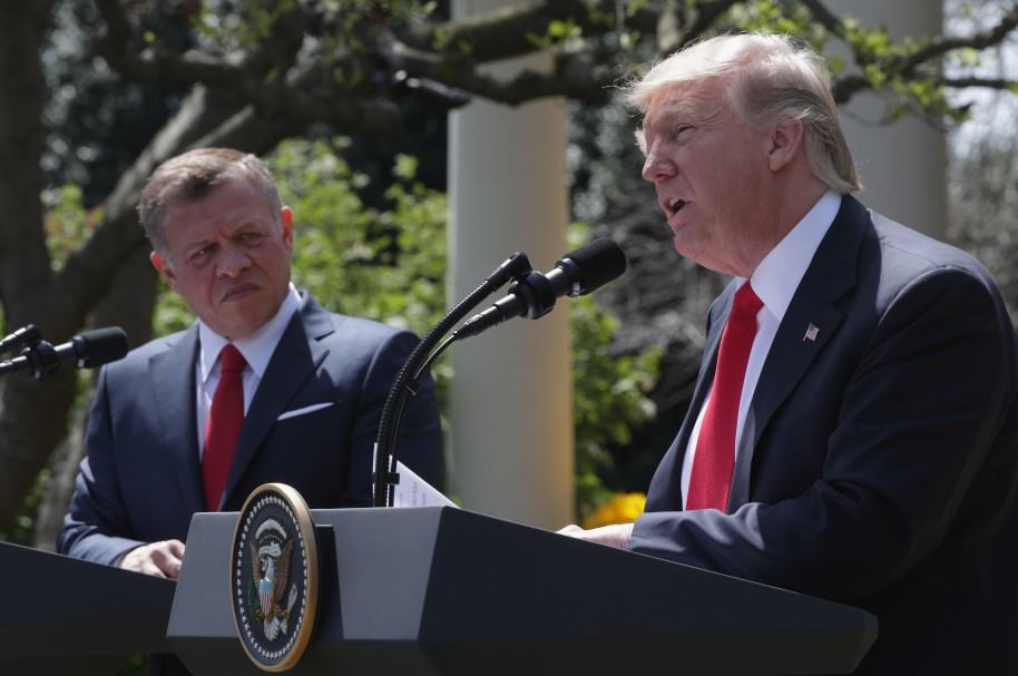 Rey Abdullah II bin Al Hussein y Donald Trump