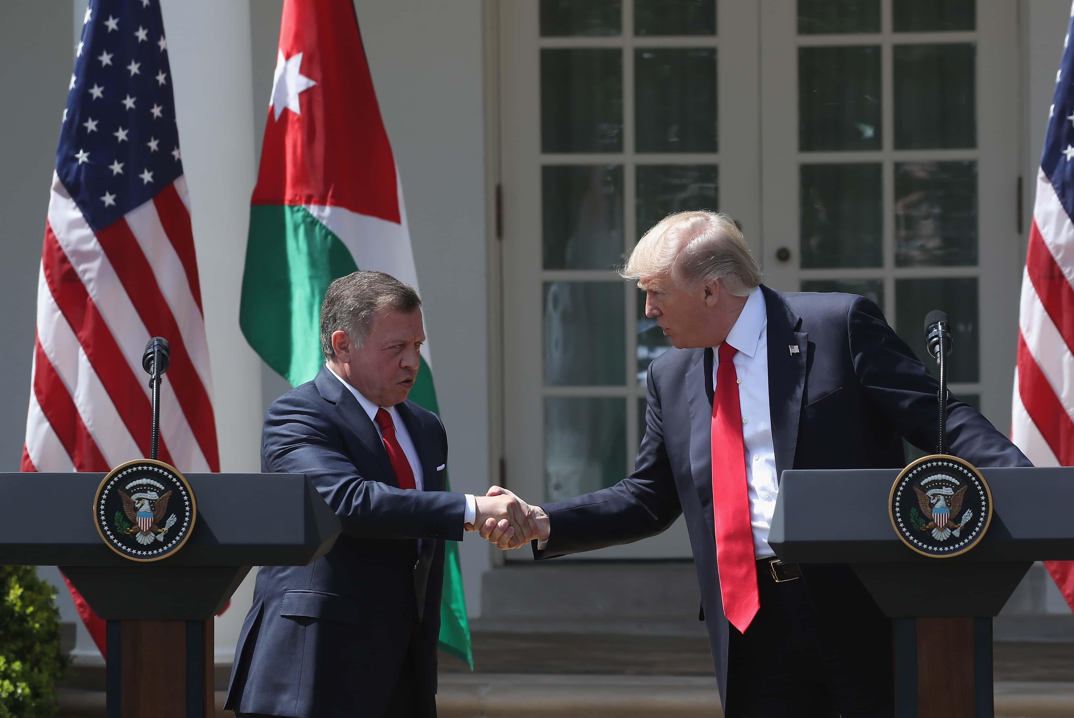 Rey Abdalá II bin Al Hussein y Donald Trump