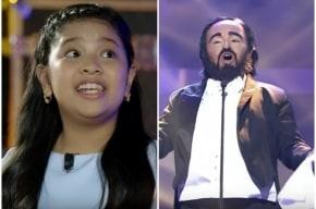 Niña imita a Pavarotti.