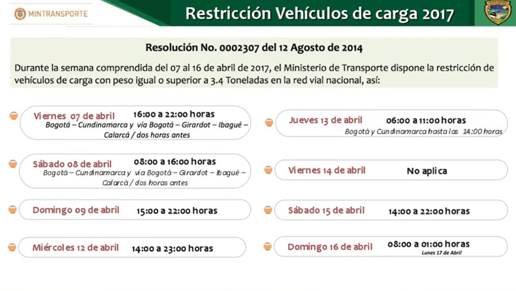 Restricción de vehículos de carga