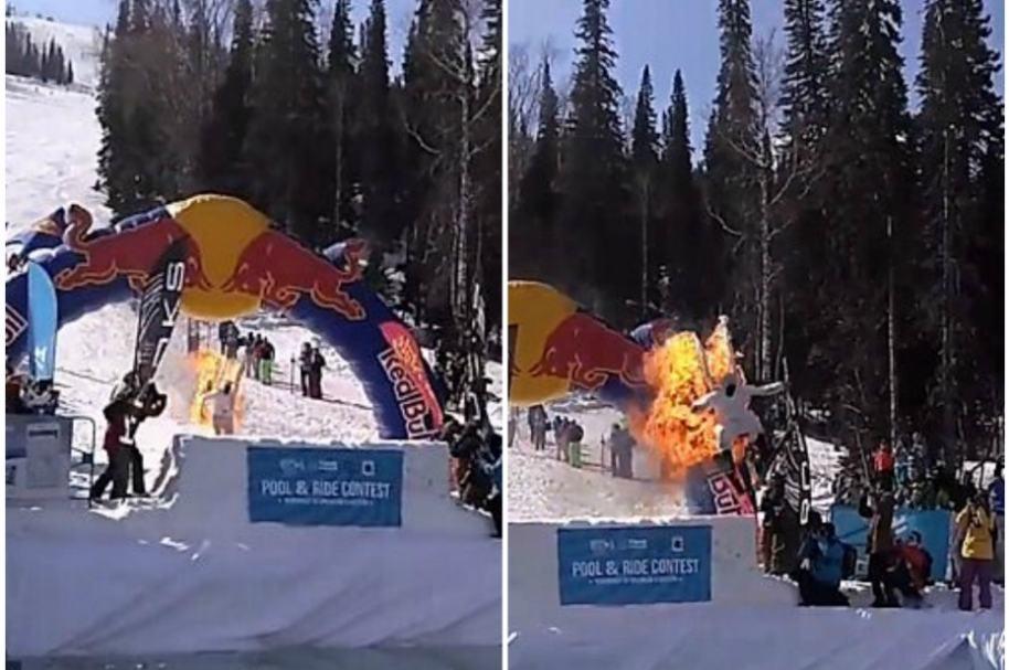 Anton Redkov se prende en llamas para ganar concurso.