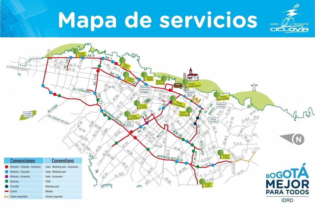 Mapa de la ciclovía en Bogotá