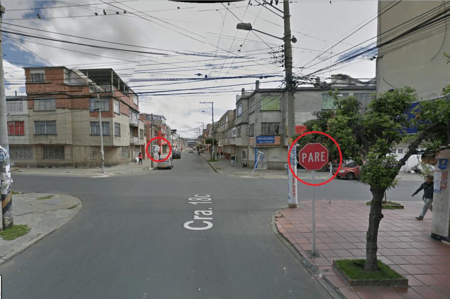 Esquina de las imprudencias en el barrio Eduardo Santos