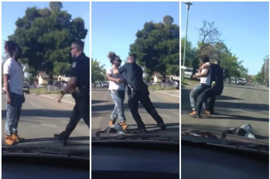 Policía agrede a hombre negro.