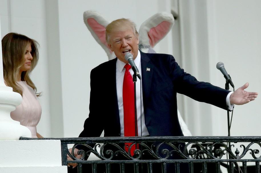 Melania y Donald Trump en la celebración de Pascua.