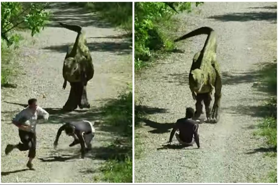 Broma con dinosaurio.