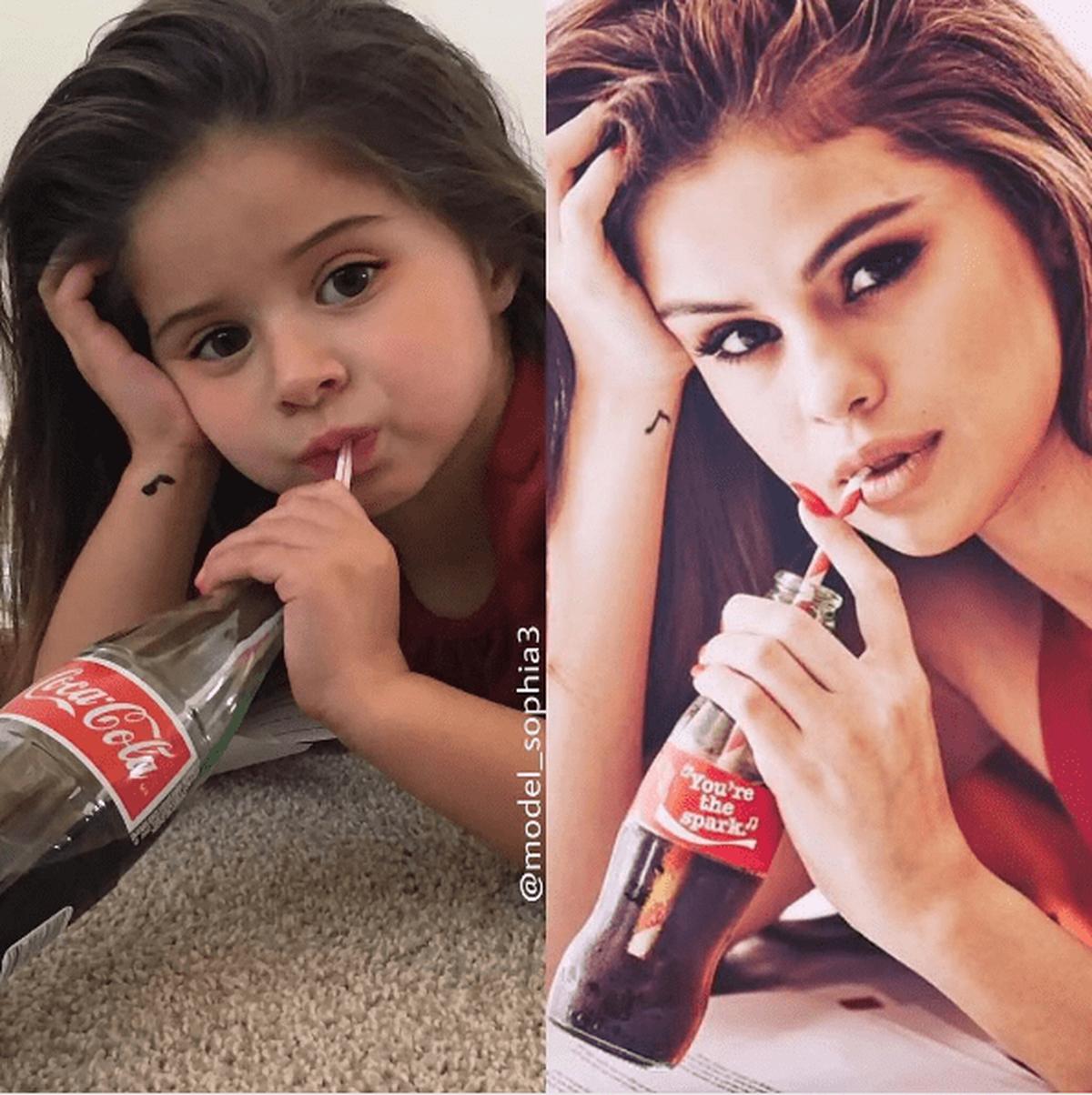 Niña imita fotos de Selena Gomez