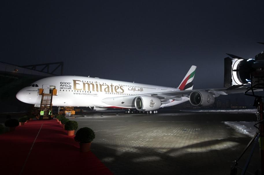 Avión Airbus A380 de Emirates, en Hamburgo