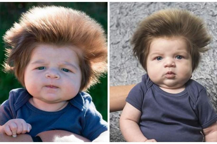 Bebé con mucho pelo tiene nuevo look