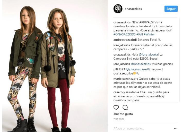 a710dff9ca Captura de Instagram  onasaezkids. Campaña publicitaria niñas delgadez  extrema