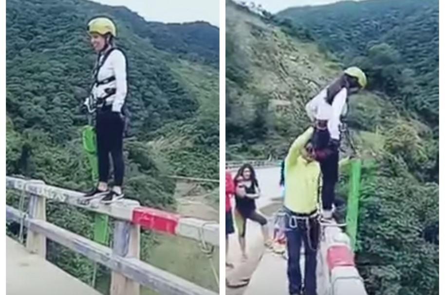 Joven practicando 'bungee jumping'. Pulzo.com