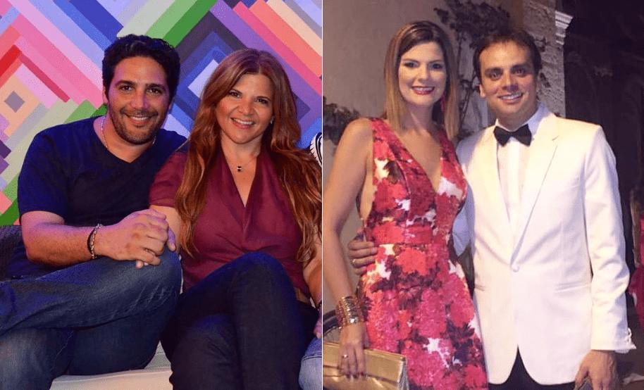 Agmeth Escaf y su amiga Diva Jessurum, presentadores, y la presentadora Rochi Stevenson con su esposo Alfredo Varela, político y exparticipante del 'Desafío'.