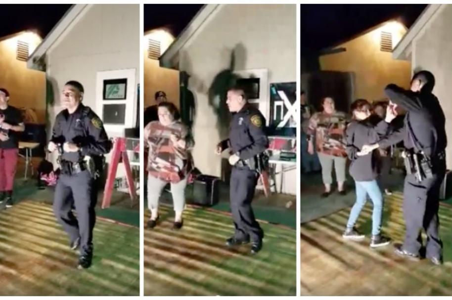 Policía baila con niños en Texas.