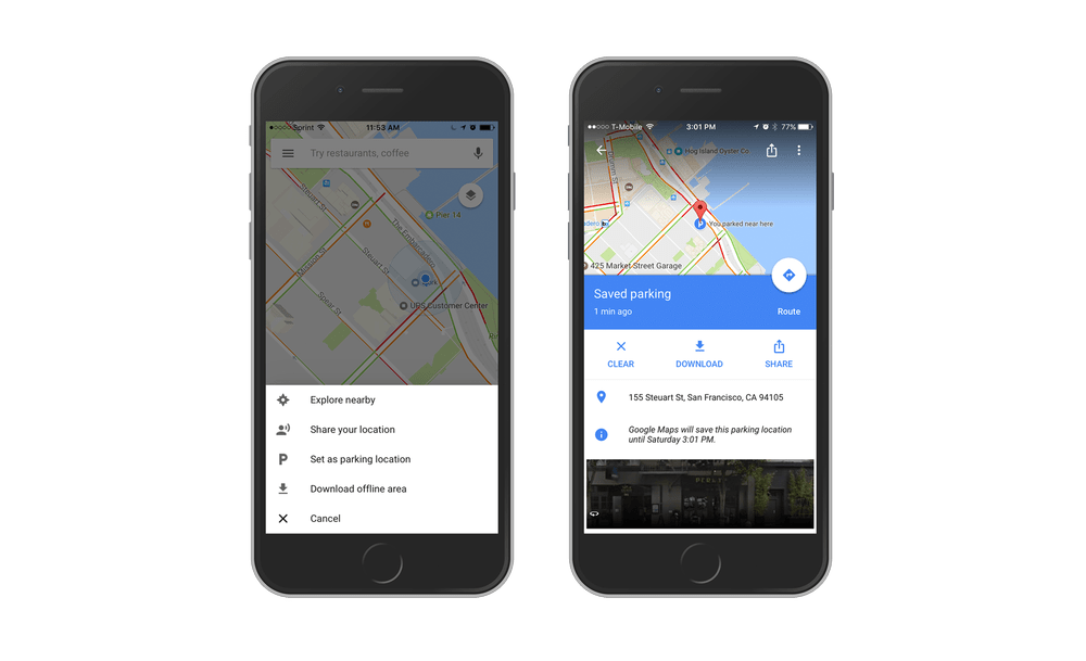 Ubicación de parqueo en Google Maps