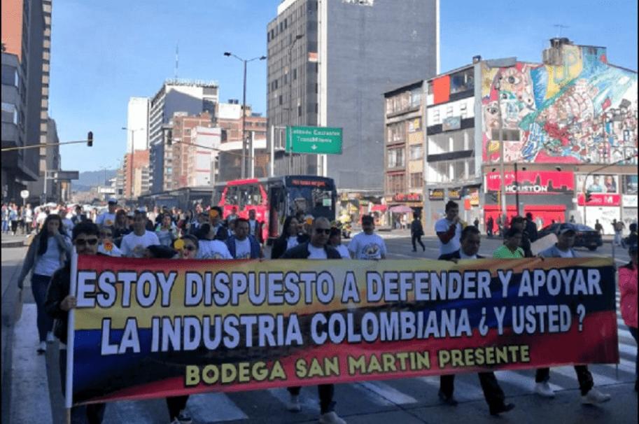 Protesta de comerciantes del centro de Bogotá