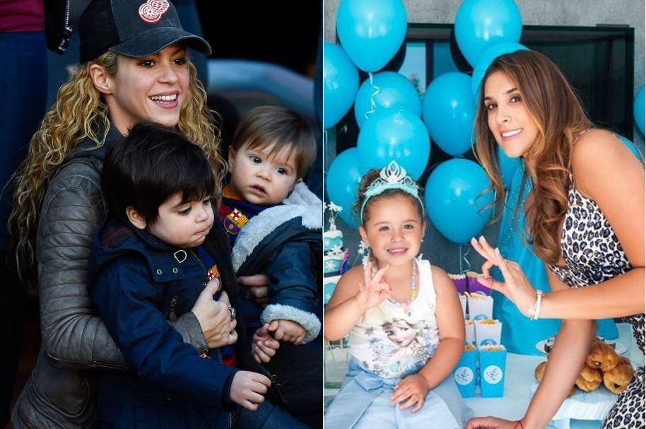 Shakira junto a sus hijos Milan y Sasha, y Daniela Ospina con su hija Salomé.