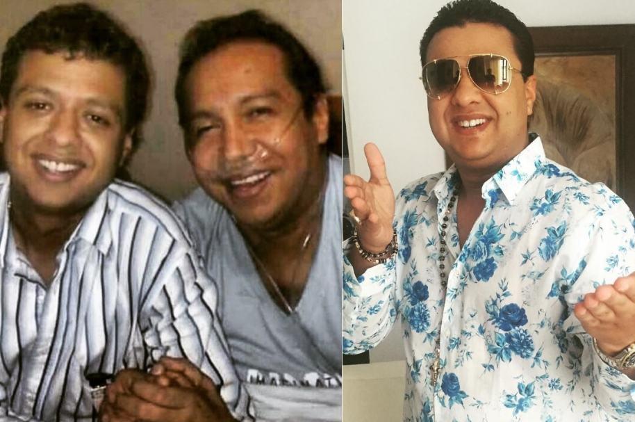 Rafael Santos y su papá Diomedes Díaz (Q.E.P.D.), cantantes colombianos.