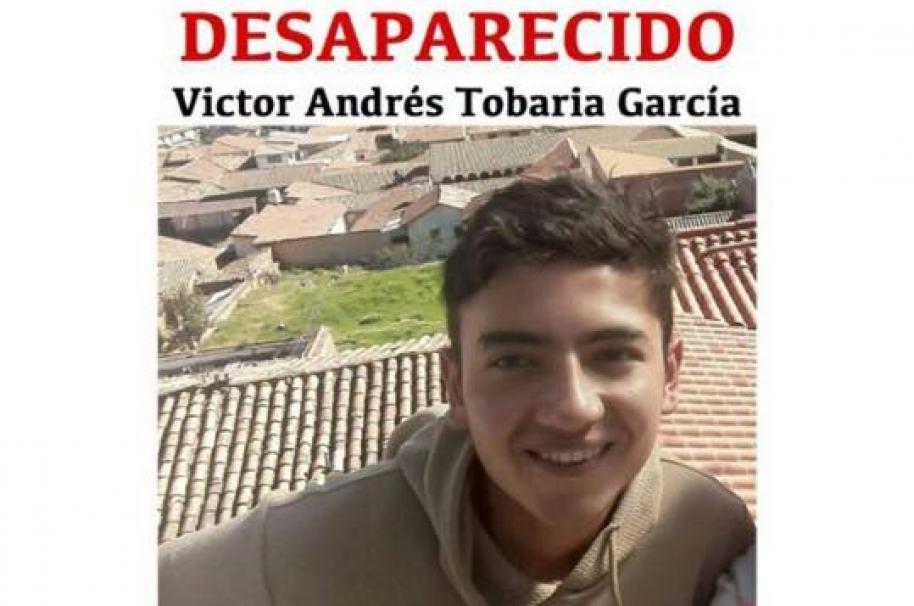 Víctor Andrés Tobaría García, joven desaparecido en Bogotá. Pulzo.com
