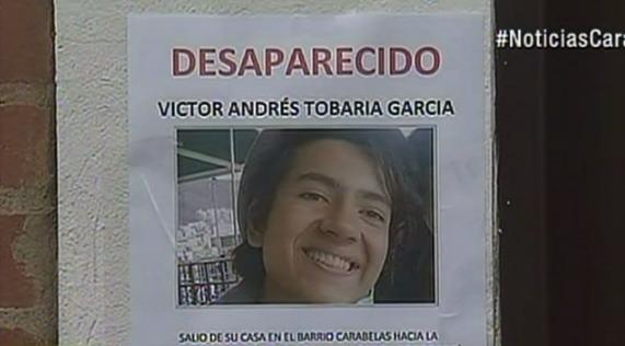 Volante con el que buscan a Víctor Andrés Tobaría García en Bogotá. Pulzo.com