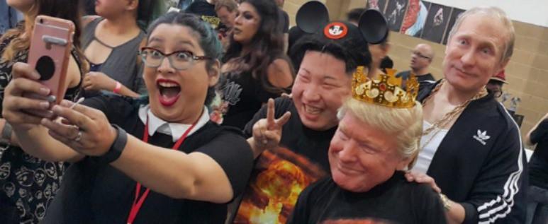 Máscaras de Kim Jong Un, Donald Trump y Vladimir Putin. Pulzo.com