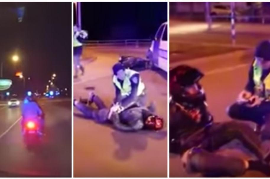 Policía en Estonia detiene a motociclista.