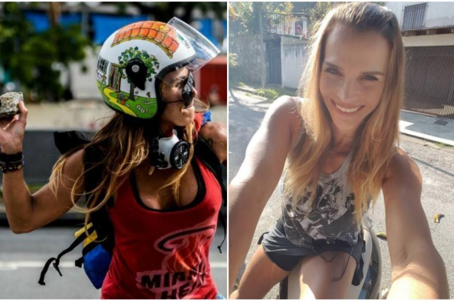 Caterina Ciarcelluti protesta contra dictadura en Venezuela.