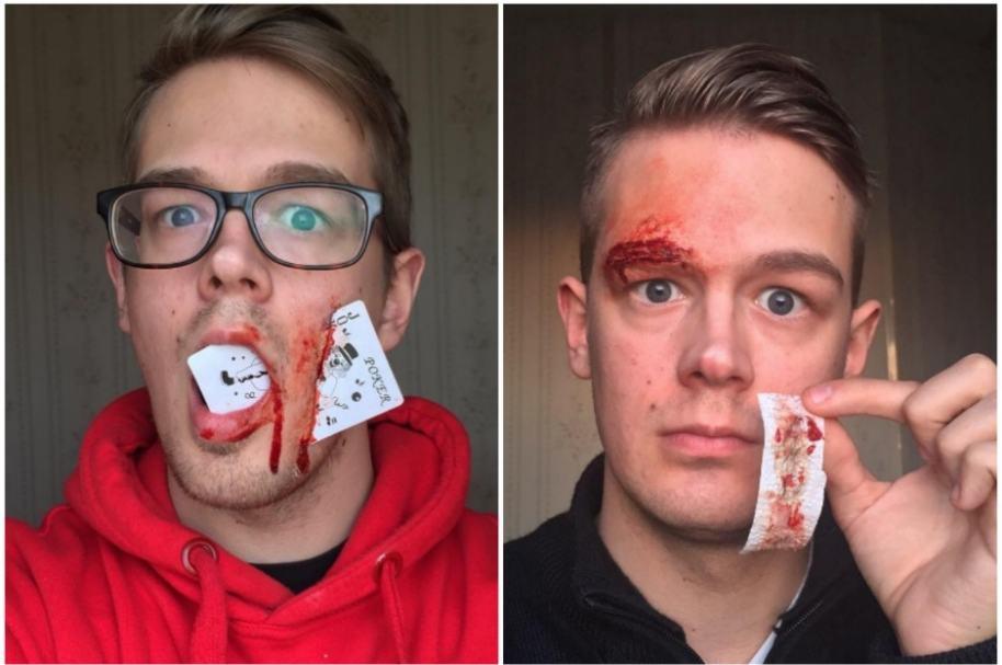 Heridas hechas con maquillaje.
