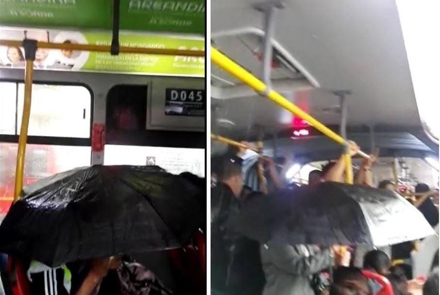 Goteras y sombrillas en bus de Transmilenio