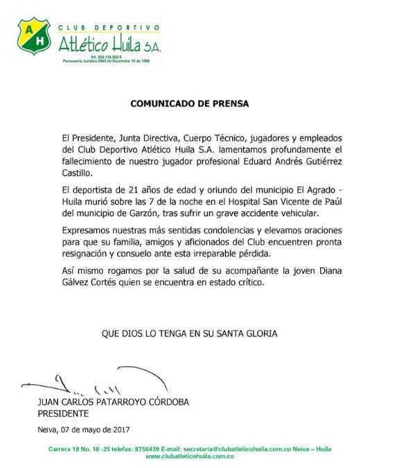 Comunicado de prensa del Atlético Huila