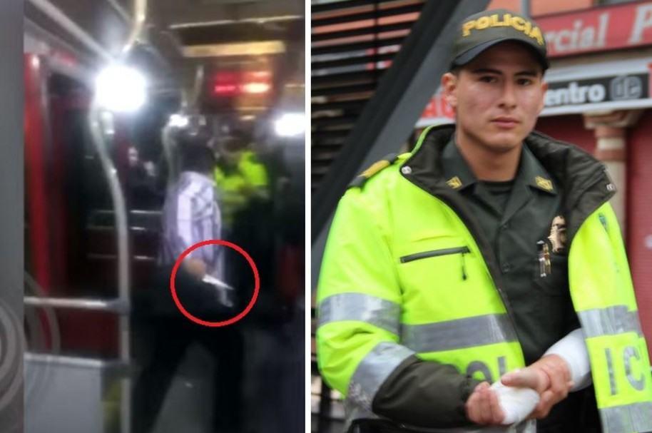 Sebastián Montes, patrullero agredido en bus de Transmilenio