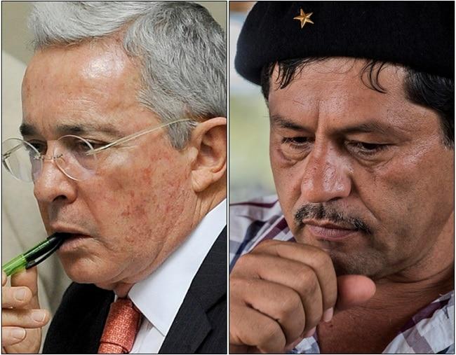 Álvaro Uribe y Henry Castellanos, alias 'Romaña'