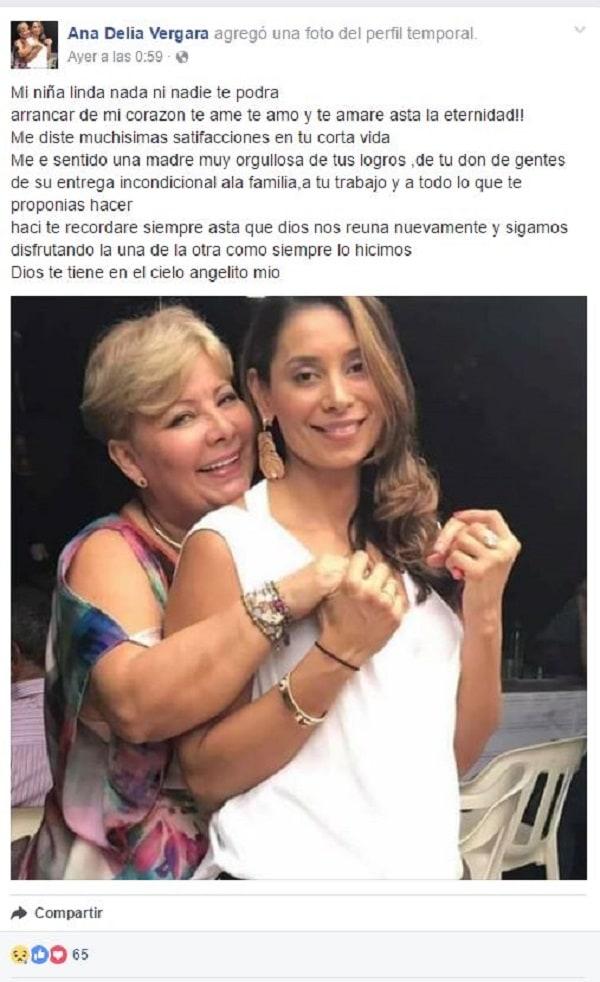 Mensaje de Ana Vergara publicado en Facebook