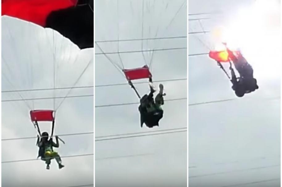 Paracaidista cae sobre cables de tensión.