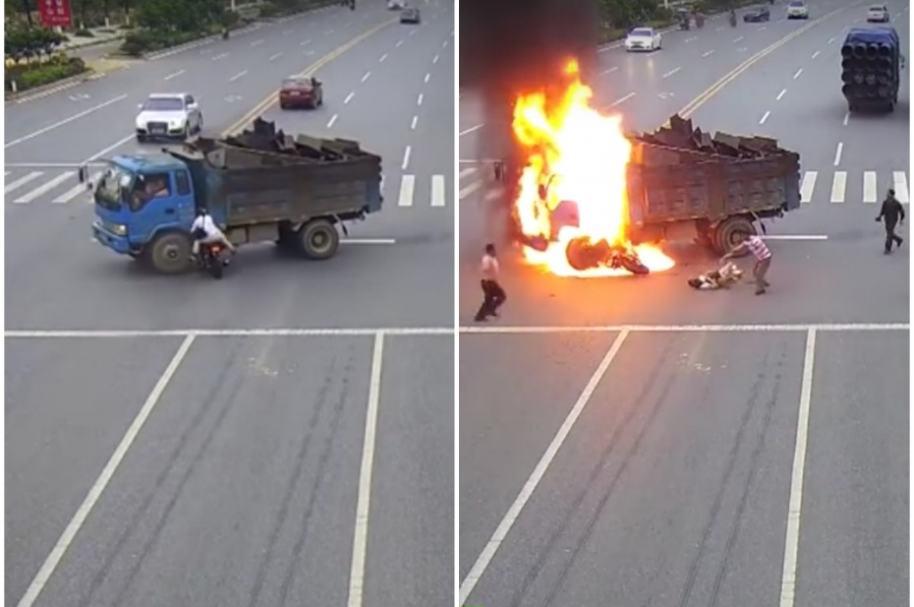 Motociclista se estrella contra camión.