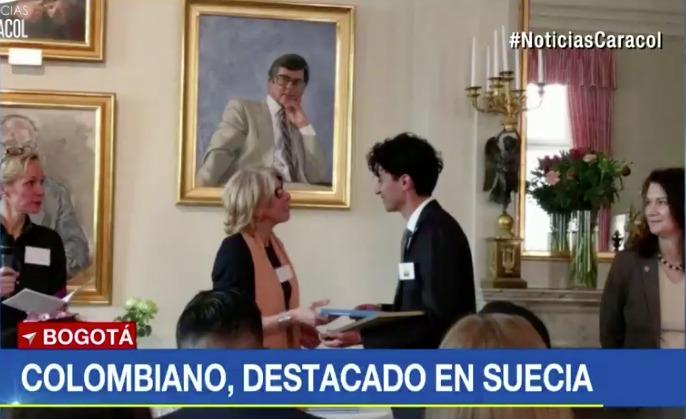 """Hernán Darío Capador Barreto, joven premiado como el """"mejor estudiante global"""" en Suecia."""