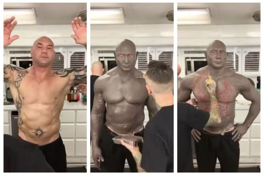 Dave Bautista es maquillado para su personaje de Drax, en 'Guardianes de la galaxia 2'. Pulzo.com