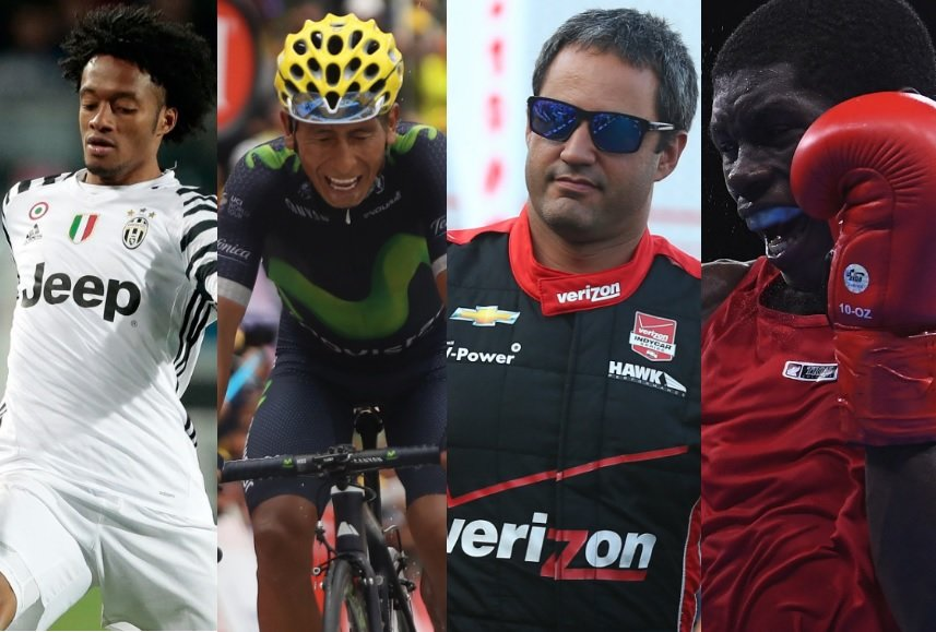 Juan Guillermo Cuadrado, Nairo Quintana, Juan Pablo Montoya y Yúberjen Martínez