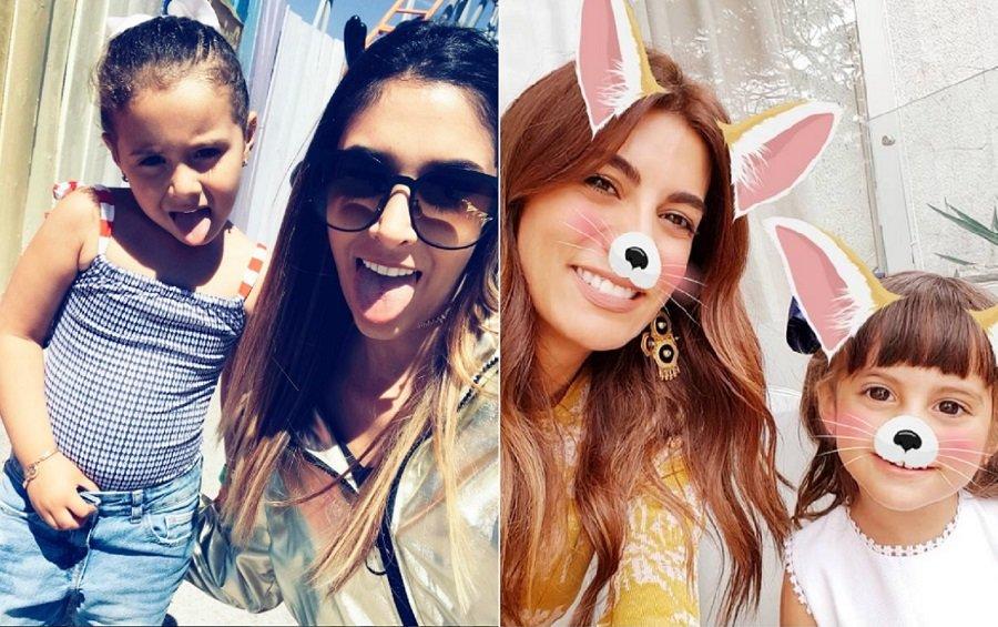La modelo Daniela Ospina juanto a su hija Salomé, y la presentadora Andrea Serna con su hija Emilia.