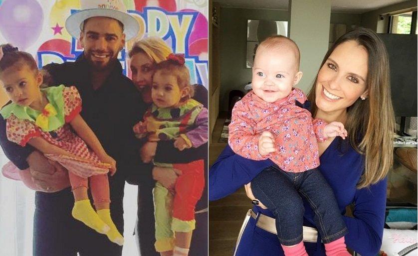 Falcao García junto a su esposa e hijas, y Laura Acuña con su bebé.
