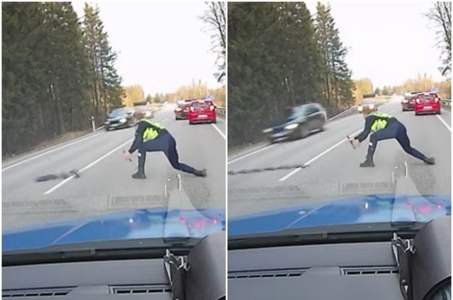 Policía pone trampa de púas.