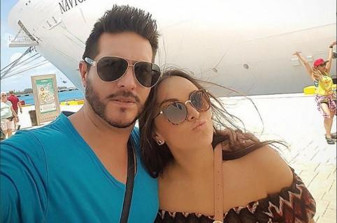 El presentador Marcelo Cezán y su esposa Michelle Gutty.