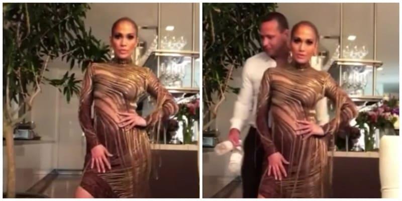 Alex Rodríguez le hace photobomb a Jennifer Lopez