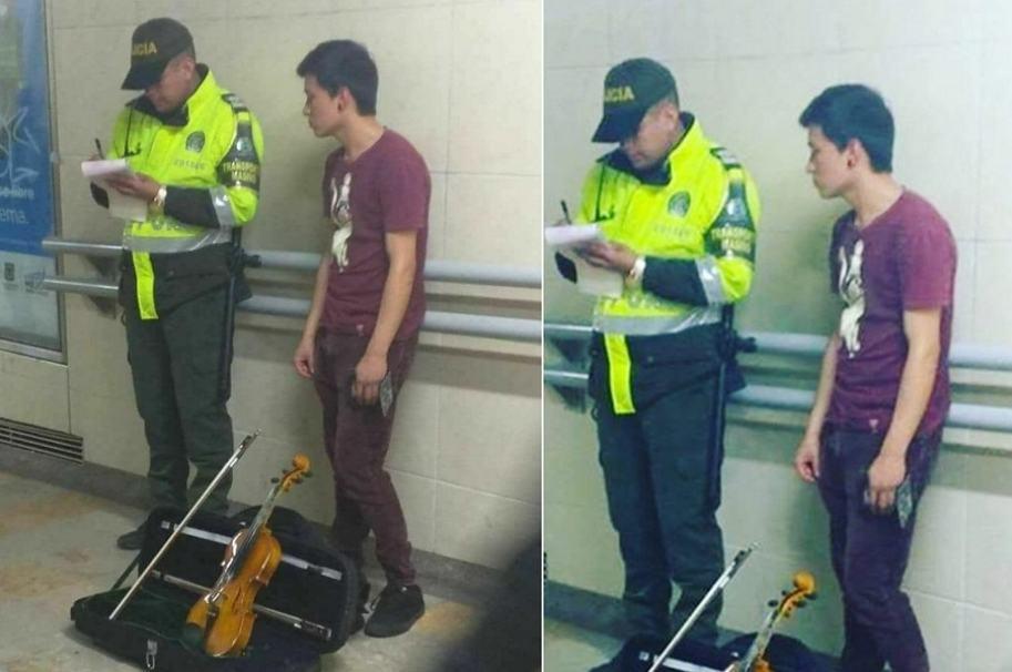 Policía multa a violinista en Transmilenio1