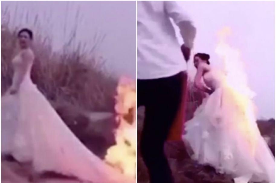 Mujer con vestido de novia en llamas.