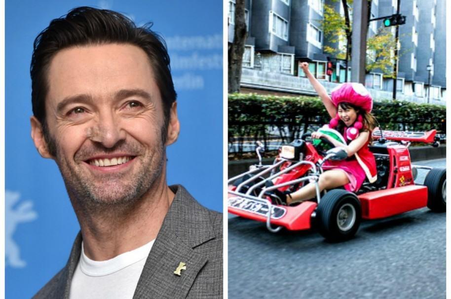 Hugh Jackman y una turista en 'carrera' de Mario Kart en Japón. Pulzo.com