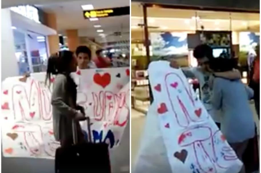 Le rompe pancarta a joven en aeropuerto de Perú.