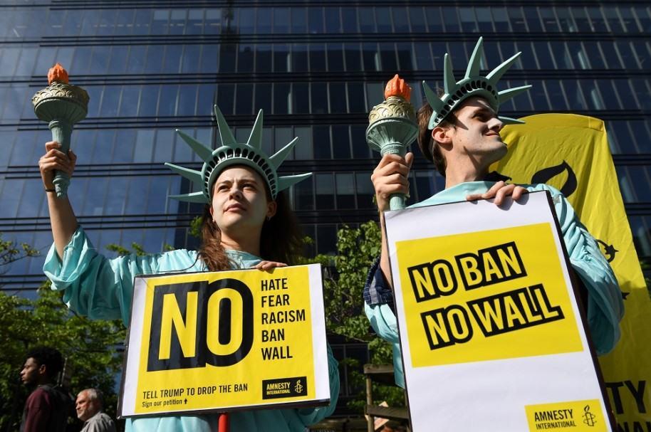 Manifestaciones contra veto de Trump