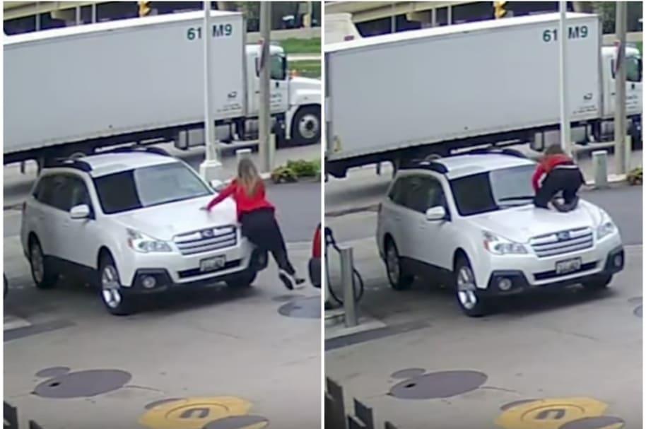 Mujer se lanza a su carro.
